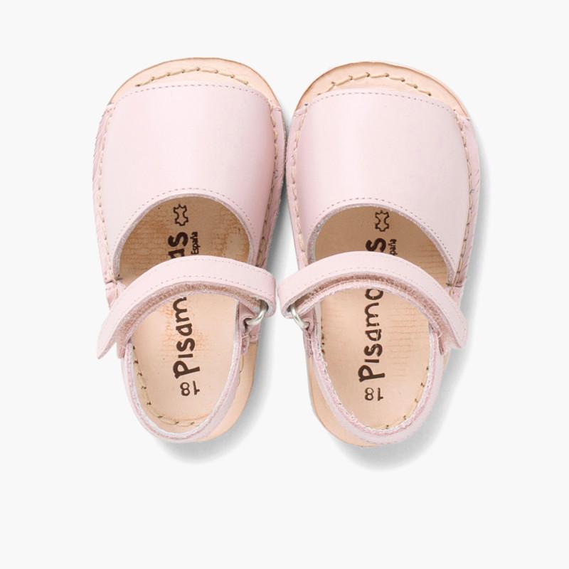d66d851b3ea Avarcas Menorquinas para Bebés en Piel con Velcro
