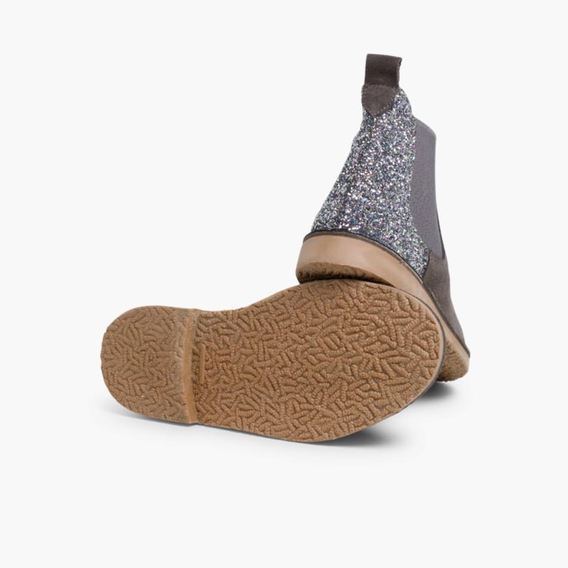 Botines Niña Serraje con talonera glitter