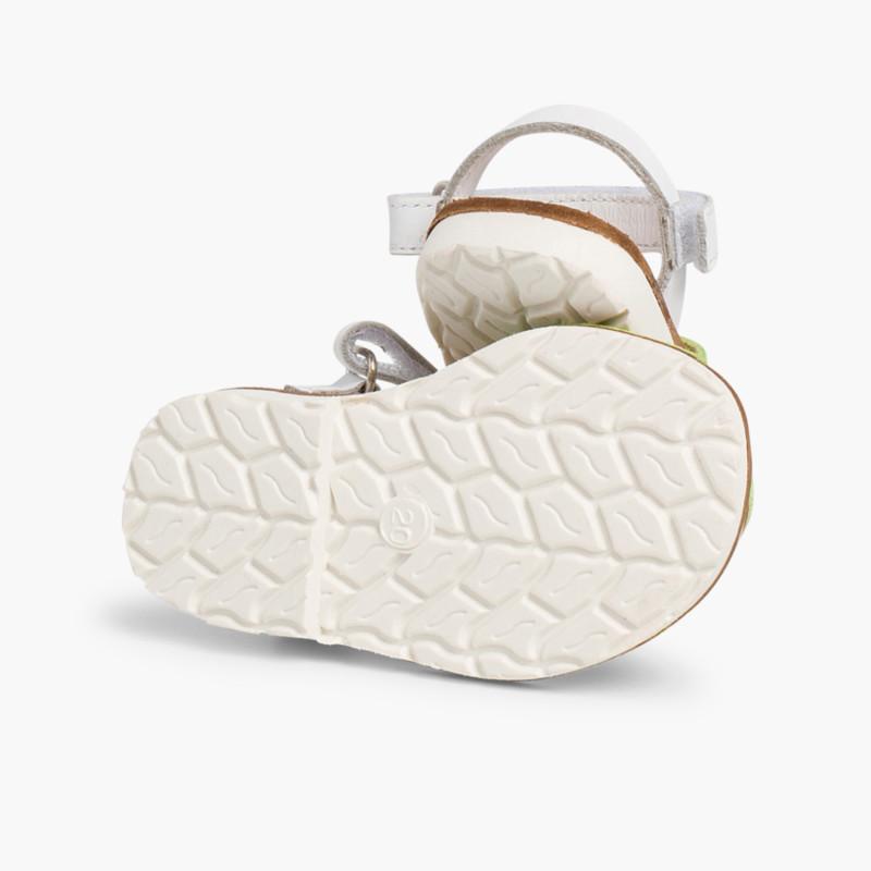 Menorquinas Niños Velcro Napa y Suela Blanca Edición Especial