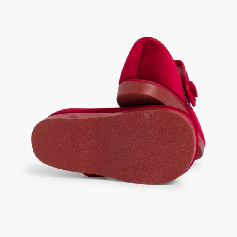 Merceditas de Terciopelo con Botón Velcro para Niñas