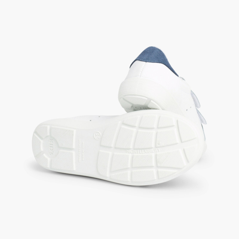 Zapatillas Blancas Talonera Serraje y Velcro