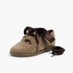 Zapato Inglés Niños en Serraje Topo