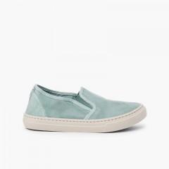 Zapatillas lona lavada elástico lateral Aguamarina