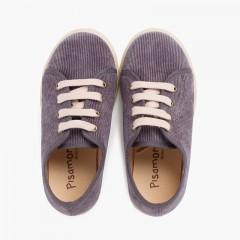 Zapatillas pana cordones suela ancha niños Gris