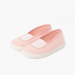 Bailarinas elástico lona eco y suela tipo zapatillas  Rosa
