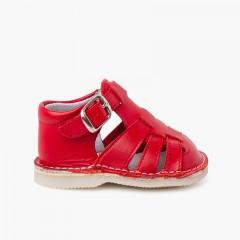 Sandalias cangrejeras bebé piel cierre hebilla  Rojo