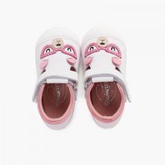 Sandalias suela flexible primeros pasos osito Rosa