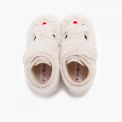 Zapatillas casa conejito pelo suave Crudo