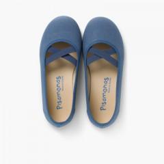 Bailarinas Niña Lona Cinta Cruzada Tipo Ballet Azul Marino