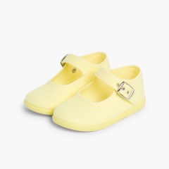 Merceditas Niña Tela Hebilla Amarillo Limón