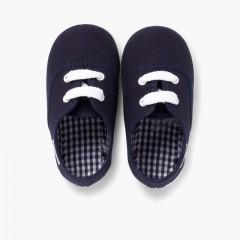 Zapatillas Niños de Cordones Azul Marino