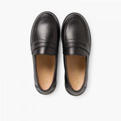 Zapato Colegial Escolares Niño Mocasines Negro