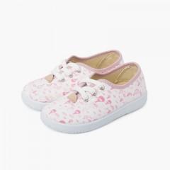Zapatillas cordones niños lona globitos Rosa