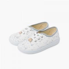 Zapatillas cordones niños lona globitos Gris