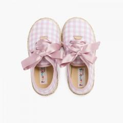 Zapatillas cuadros vichy y yute cordones raso Rosa y Blanco
