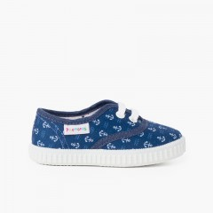 Zapatillas lona estampada niños azul marino con anclas