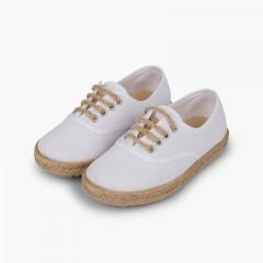 Zapatillas niños suela y cordones yute Blanco