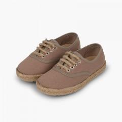 Zapatillas niños suela y cordones yute Tostado