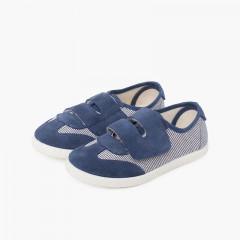 Zapatillas rayas y serraje con tira adherente doble Azul Marino