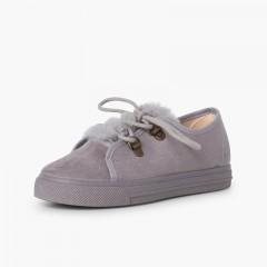 Zapatillas suela ancha niña pelito  Gris