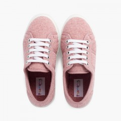 Zapatillas tejido punto orgánico Rosa Viejo
