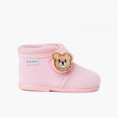 Zapatillas casa botita pana oso niños Rosa