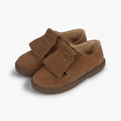 Zapatos blucher serraje flecos lisos Topo