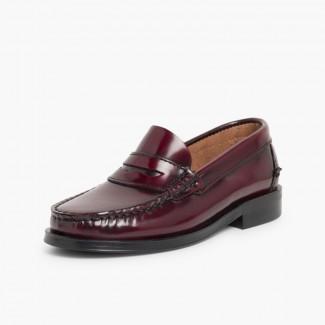Zapatos castellanos Mocasines de piel para Niño Burdeos