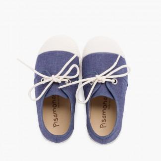 Zapatilla casual lona con puntera goma Azul Jeans