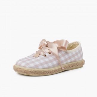 Zapatillas cuadros vichy y yute cordones raso Beige y Blanco