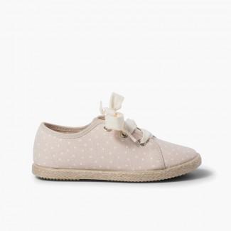 Zapatillas tela puntitos niña  Beige