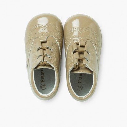 Bota Inglesa/  Zapato Inglés Tipo Charol Beige