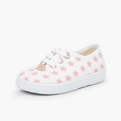 Zapatilla niños lona estrellas  Rosa