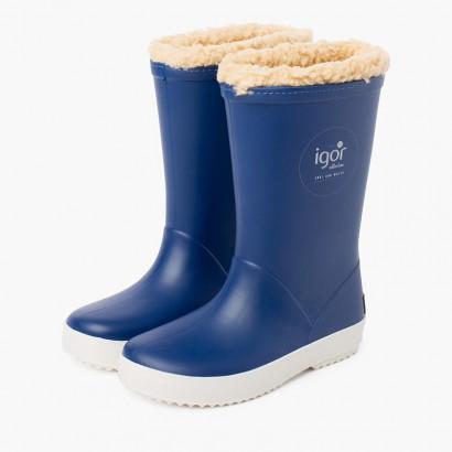 Botas agua borreguito interior para niños Azul Jeans