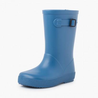 Botas agua hebilla colores pastel Azul