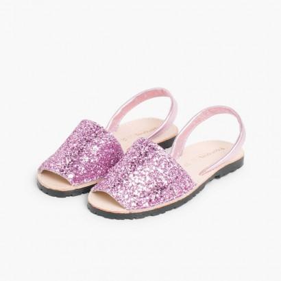 Menorquinas Glitter Niña & Mujer Rosa