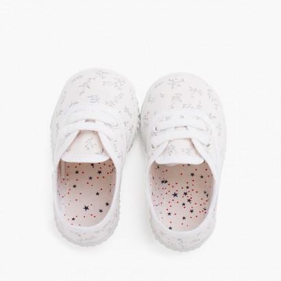 Zapatillas lona estampada niños Blanco con Ramitas