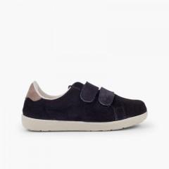 Zapatillas deportivas serraje y cinta adhesiva  niños  Azul Marino