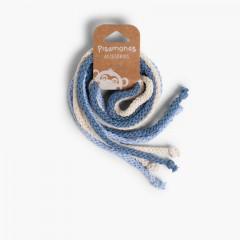 Cordones de Algodón para el Pelo Celeste, Crudo y Azul Francia