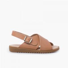 Sandalia piel cruzada tiras anchas Beige