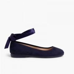 Bailarina Cintas Raso Cierre Pulsera Azul Marino