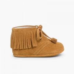 Botas Bebé Flecos tipo Indias con Cordones Camel