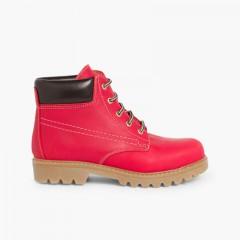 Botas estilo Montaña Niños y Adultos Rojo
