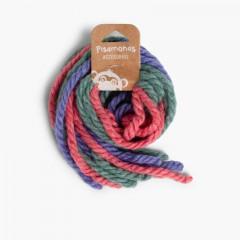 Cordones de lana para Pelo Rosa y Azul