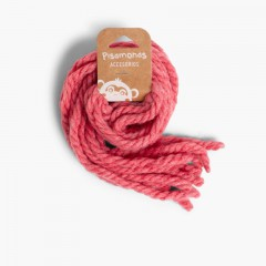Cordones para el pelo de niña en lana monocolor Rosa Francia