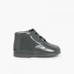 Bota Inglesa/  Zapato Inglés Tipo Charol Gris