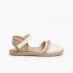 Sandalia Flecos Tipo Valenciana Cierre Velcro Beige