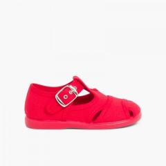 Sandalias Pepitos de lona abiertos  Rojo