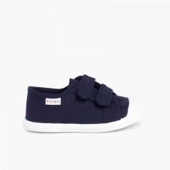 Zapatillas Niños Lona Velcro Azul Marino