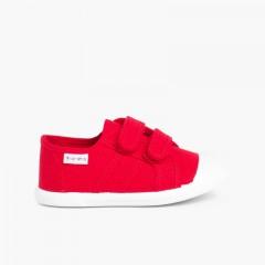 Zapatillas Niños Lona Tiras adherentes    Rojo